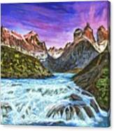 Cascades In Patagonia Painting Canvas Print