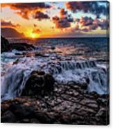 Cascading Water At Sunset Canvas Print