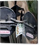 Cash In Truck Fuel Tank Fill Spout Canvas Print