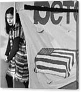 Casket On Banner Young Girl Anti Gulf War Rally Tucson Arizona 1991 Canvas Print