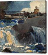 Casting In The Falls Canvas Print