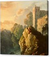 Castle And Waterfall Canvas Print