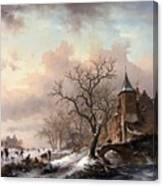 Castle In A Winter Landscape And Skaters On A Fozen River Canvas Print