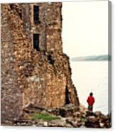 Castle Ruins On The Seashore In Ireland Canvas Print