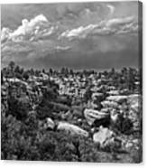 Castlewood Canyon And Storm - Black And White Canvas Print