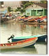 Castries Harbor Waterfront Canvas Print