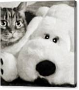 Cat And Dog In B W Canvas Print