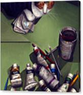 Cat And Paint Tubes Canvas Print