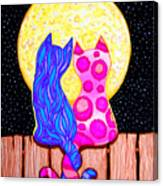 Cat Couple Full Moon Canvas Print