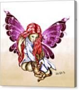 Cat Fairy In Purple  Canvas Print