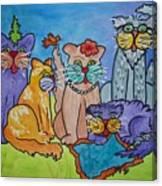 Cat Family Gathering Canvas Print