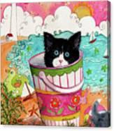 Cat In A Pail Canvas Print