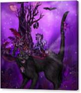 Cat In Goth Witch Hat Canvas Print