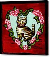 Cat In Heart Wreath 2 Canvas Print