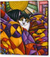 Cat In Quilts Canvas Print