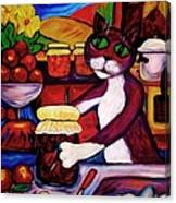 Cat In The Kitchen Bottling Fruit Canvas Print