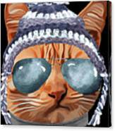 Cat Kitty Kitten In Clothes Aviators Toque Beanie Canvas Print
