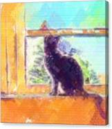 Cat Looking Out The Window Canvas Print