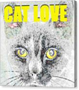 Cat Love Yellow Work Canvas Print