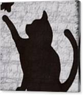 Cat  Shadow  And Butterfly  Canvas Print