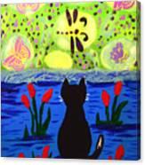 Cat Tv  Watching Bugs Canvas Print