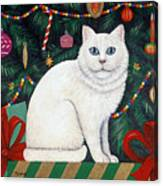 Cat Under The Christmas Tree Canvas Print