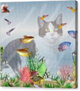 Cat Watching Fishtank Canvas Print
