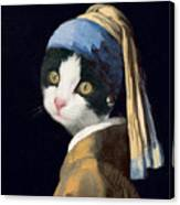 Cat With A Pearl Earring Canvas Print