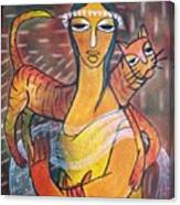 Cat With Woman Canvas Print