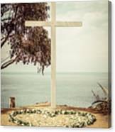 Catalina Island Cross Picture Retro Tone Canvas Print