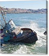 Catch Of The Day -- Abandoned Fishing Boat In Cayucos, California Canvas Print