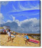 Catching The Ball, St Ives Canvas Print