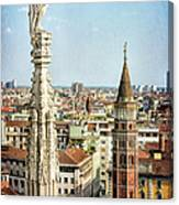 Cathedral And Campanile Milan Italy Canvas Print