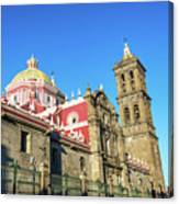 Cathedral In Puebla, Mexico Canvas Print