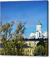 Cathedral Landmark And Central Helsinki View In Finland Canvas Print