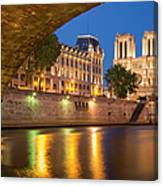 Cathedral Notre Dame And River Seine - Paris Canvas Print