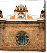 Cathedral Of Cartagena Clock Canvas Print