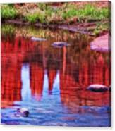 Cathedral Rock Reflection Painterly Canvas Print