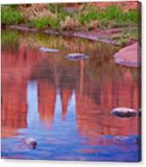Cathedral Rock Reflection Pastel Canvas Print