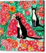 Cats And Roses Canvas Print