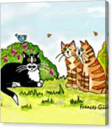 Cats Talking In A Sunny Garden Canvas Print