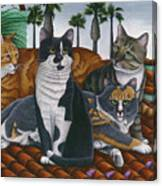 Cats Up On The Roof Canvas Print
