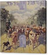 Cattle Drive Down Marion Avenue 1903 Sketch Canvas Print
