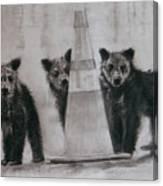 Caution Bears Canvas Print