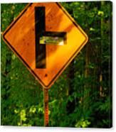 Caution T Junction Road Sign Canvas Print