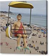 Caveman Above Beach Santa Cruz Boardwalk Canvas Print