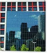 Cbc Building Tv Screen Of Downtown Highrises Canvas Print