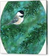 Cedar Chickadees - Bird 1 Canvas Print