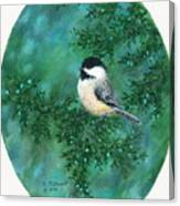 Cedar Chickadees - Bird 2 Canvas Print