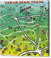 Cedar Park Texas Cartoon Map Canvas Print
